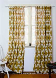 Mustard Yellow Curtains Yellow Curtains Mustard Curtain Window Treatment Block Print
