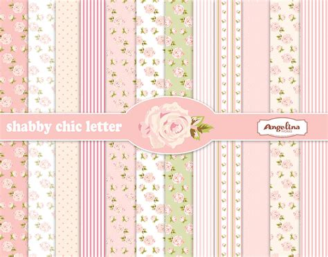 12 shabby chic rose light pink digital scrapbook papers 8x11