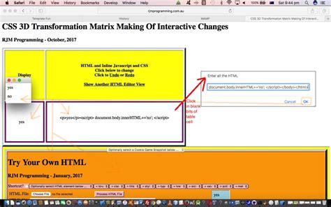 tutorial html javascript css css 3d transformation matrix making of interactive