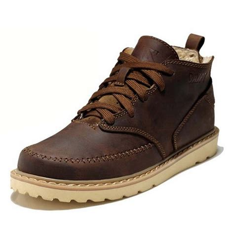 boots for winter mens leather winter boots ankle platform brown lace up fur