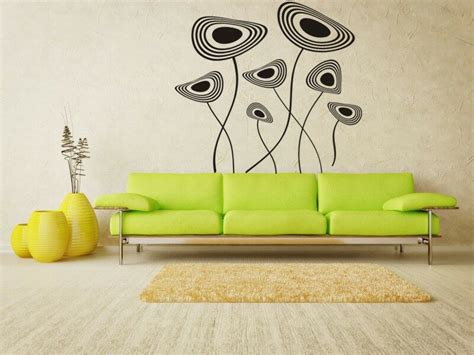 mid century vinyl wall decals retro wall decal retro floral flower wall decals mid