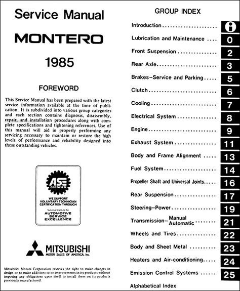 car repair manuals download 2005 mitsubishi montero auto manual 1985 mitsubishi montero repair shop manual original