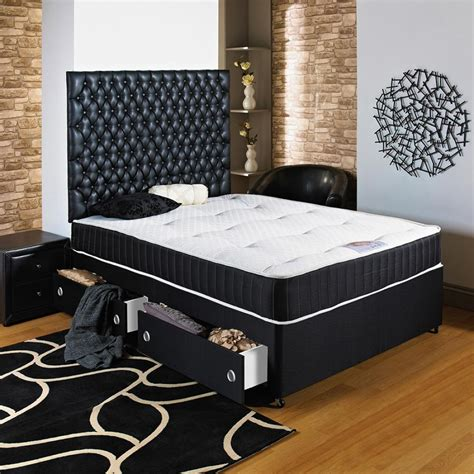 4ft 6 Quot Double Black Divan Bed Ortho Mattress Headboard Beds Sale