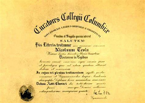 Nikola Tesla Awards Above Tesla Diploma Of Honorary Doctor Of Collegium