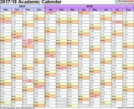 Qut Academic Calendar 2018 Academic Calendars 2017 2018 As Free Printable Word Templates