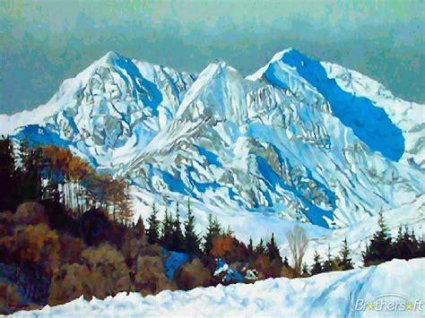 winter mountain screensavers  wallpaper