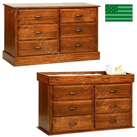 Baby Dresser Changer by American Made Amish Furniture Amish 6 Drawer Reversible