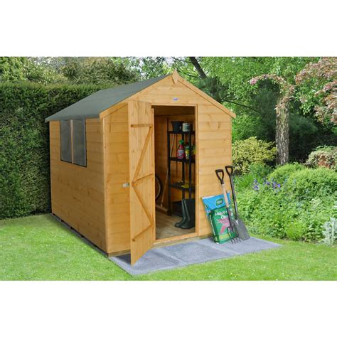 forest garden shiplap apex garden shed 8 x 6 at wilko