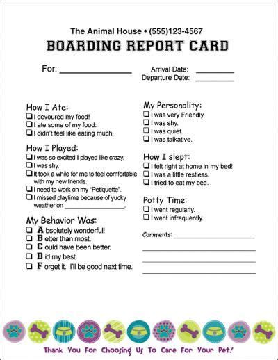 daycare report card template report card future kennels pet care