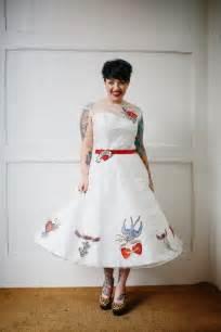 Rockabilly tattooed wedding dress tattoo bride inkedweddings com