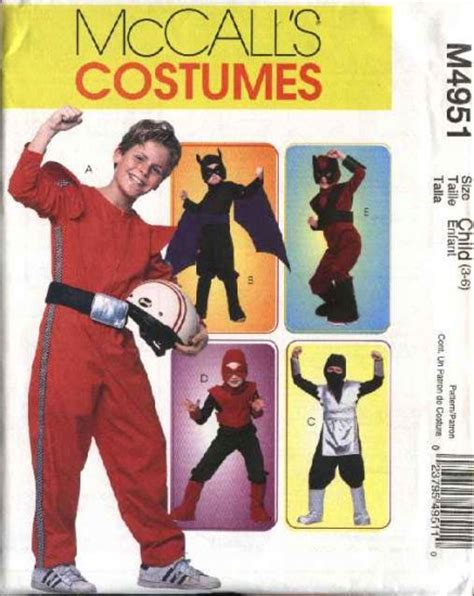 pattern for ninja costume mccall s sewing pattern 4951 boys size 7 14 halloween