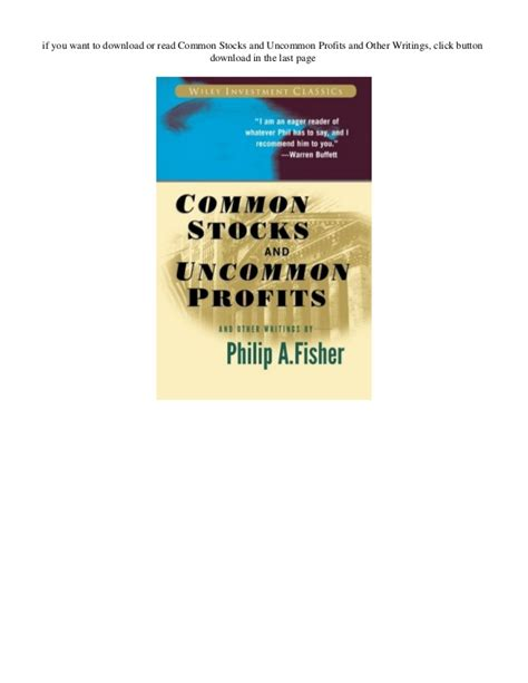 Ebook Stock Profits pdf common stocks and uncommon profits and