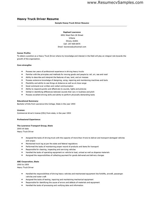Resume Objective Sles For Truck Drivers Truck Driver Description For Resume Best Resume Exle