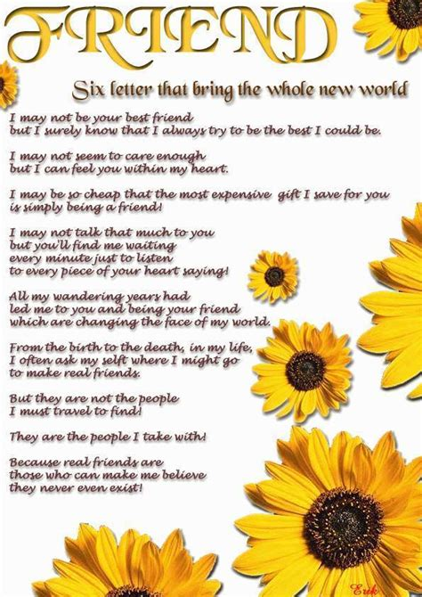 poem for friend friendship birthday poems and quotes quotesgram