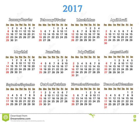 Next Years Calendar Calendar For 2017 Years On The White Stock Illustration