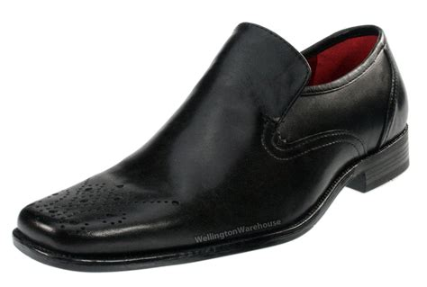 mens brown real leather brogue slip on shoes