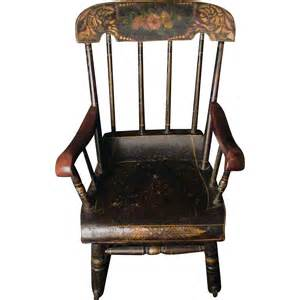 antique child s rocking chair roses stenciled 19th c