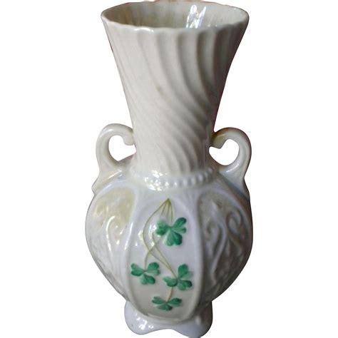 Belleek Shamrock Vase by Belleek Handled Vase With Shamrock Clover From