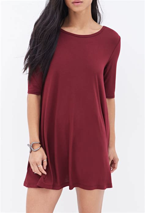 knit t shirt dress forever 21 knit t shirt dress in lyst