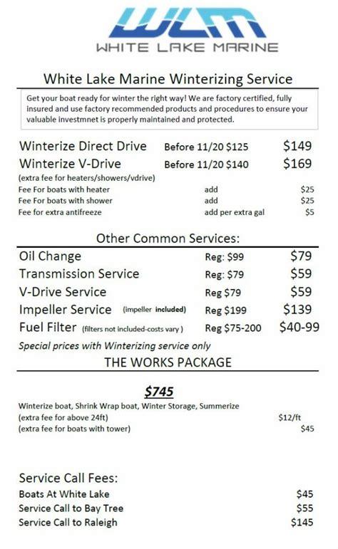 boat service price list winterizing services white lake marine
