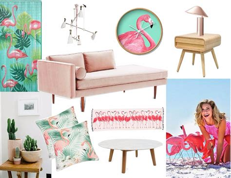 mood board feel the pink flamingo in home decor modern