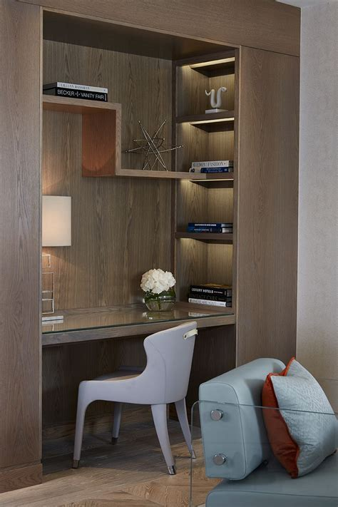unique study table designs bookshelf and leather inlay desk detail chelsea suites the berkeley hotel robert angell