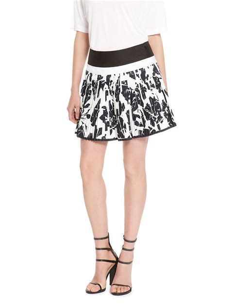 dkny cotton pleated mini skirt in black white lyst