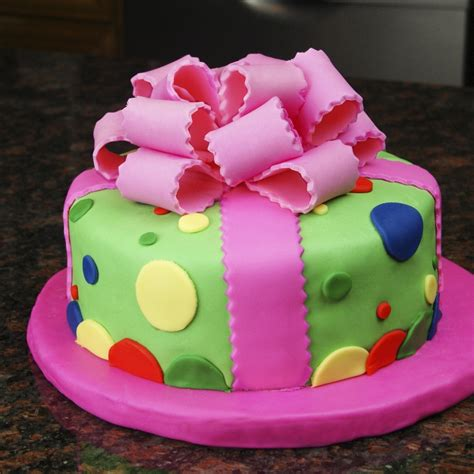 colorful birthday cakes colorful present birthday cake cakecentral