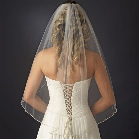 beaded veils wedding single tier veil with pearl bugle beaded edge in white
