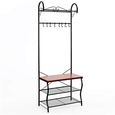 Metal Entryway Storage Bench With Coat Rack by Songmics Metal Entryway Shoe Bench With Coat Rack Hallway