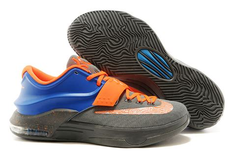 kevin durant basketball shoes nike kevin durant kd 7 basketball shoes grey blue orange