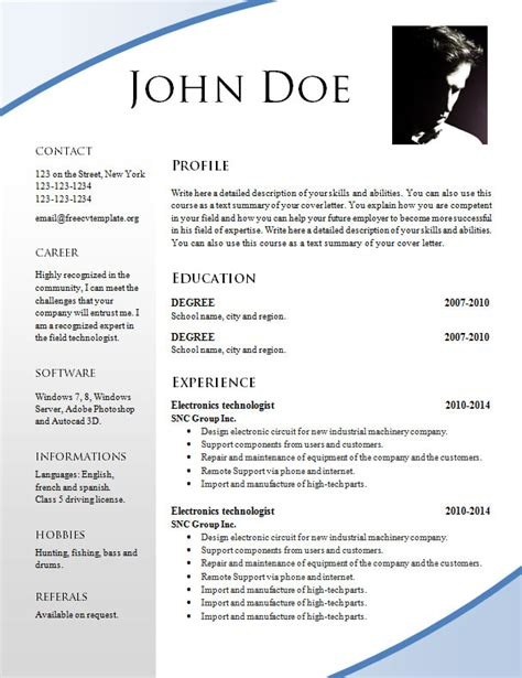 Model Curriculum Vitae Word Format Free Resume Templates 695 701 Free Cv Template Dot Org