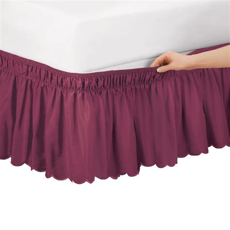 scalloped bed skirt scalloped elastic bed wrap around easy fit dust ruffle