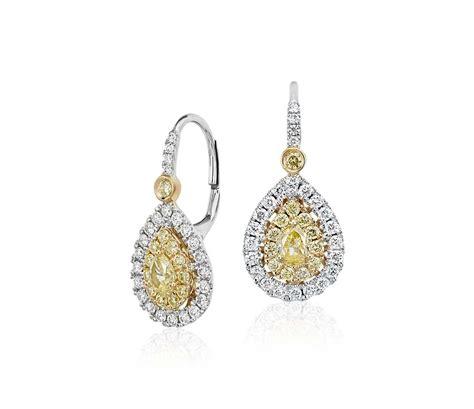 Shaped Drop Earring pear shaped yellow halo drop earrings in