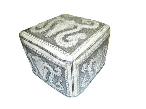 tooled leather ottoman tooled leather large square colonial ottoman in ash