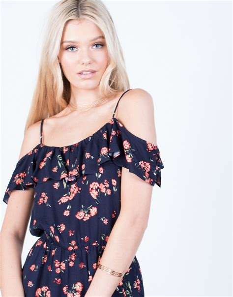 Ruffled Romper ruffled floral romper navy cold shoulder romper floral ruffles romper 2020ave