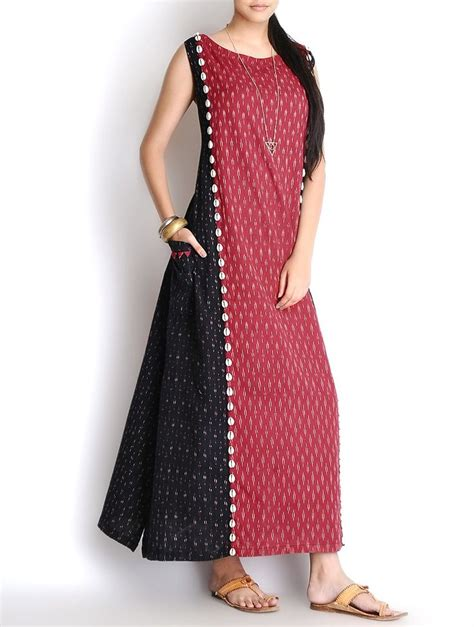 design dress cotton buy black red shell embellished handloom ikat cotton maxi