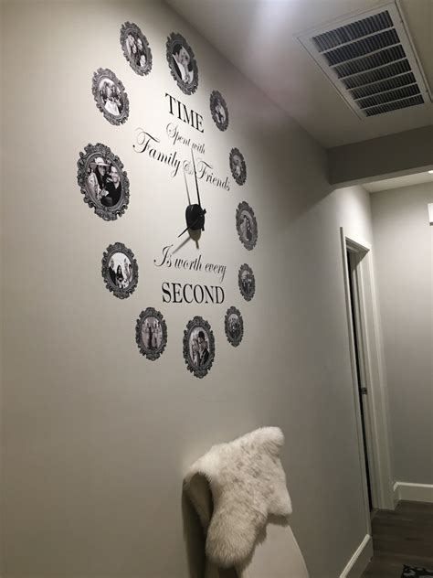 time spent  family  friends  worth   wall quote large clock decal