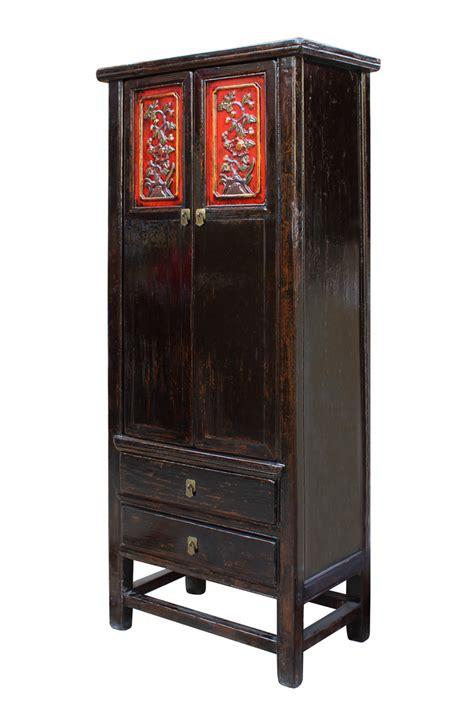 tall slim storage cabinet chinese distressed black red floral motif tall slim