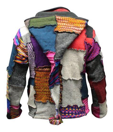 Mens Patchwork - s tye dye patchwork hippie jacket fleece lined