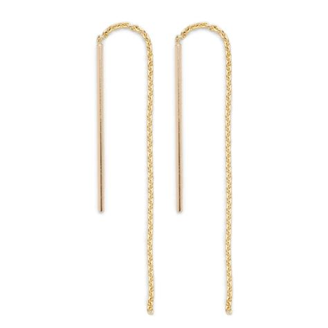 j crew brvtvs 14k gold threaded chain earrings in gold