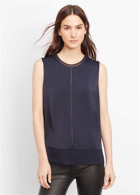 Tops Mix Blue vince sleeveless mixed media overlay blouse in blue lyst