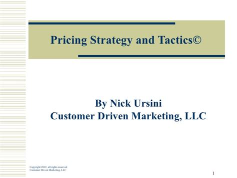 Strategic And Tactical Mba by Pricing Strategy Tactics V 2