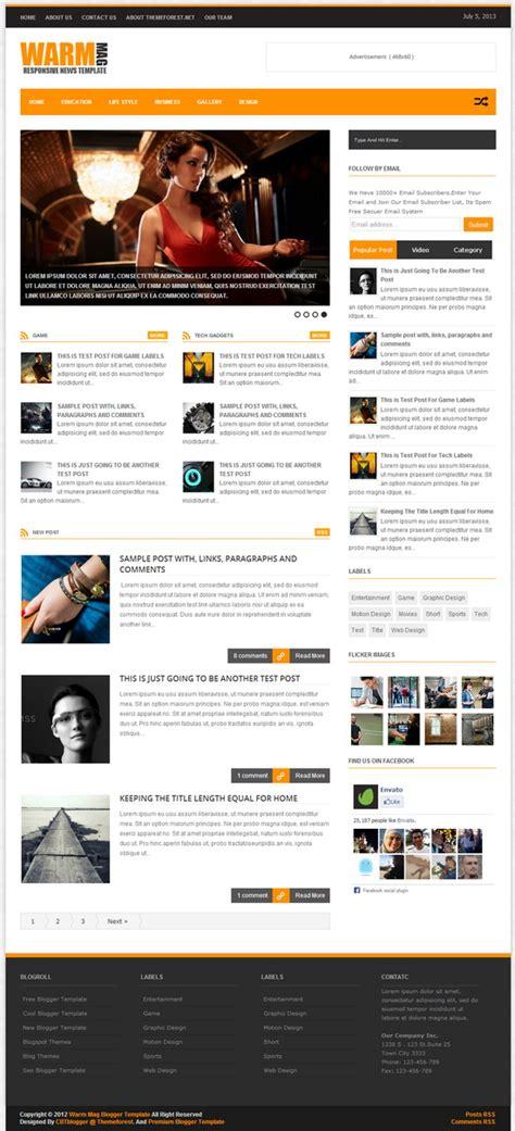 warmmag responsive premium blogger template blogger