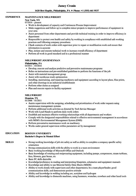 free sle resume millwright attractive millwright resume objective exles pattern resume ideas namanasa