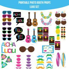 tropical party props cocktails and dreams photo booth luau party photo booth props instant download kit set of