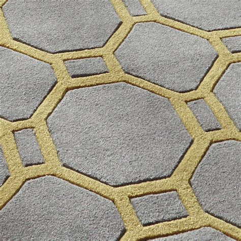Grey And Yellow Rugs by Hong Kong Octagon Rectangle Rug 100 Tufted Acrylic