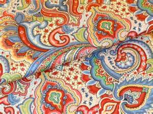 Decorator Fabric Color Paisley Floral Design Decorator Fabric