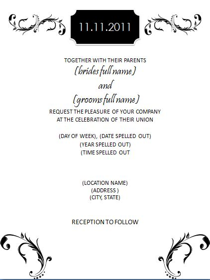 Racquel S Blog Carnival Invitations Print Your Own Wedding Invitations Wedding Invitation Black And White Invitation Templates Free