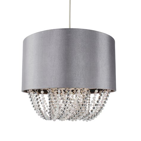 Fabric Pendant Light Shades Modern Easy Fit Drum Shade Grey Fabric Ceiling Pendant